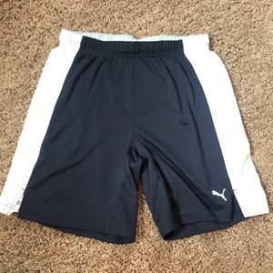 Navy Puma Soccer Shorts with Rollover Waistband